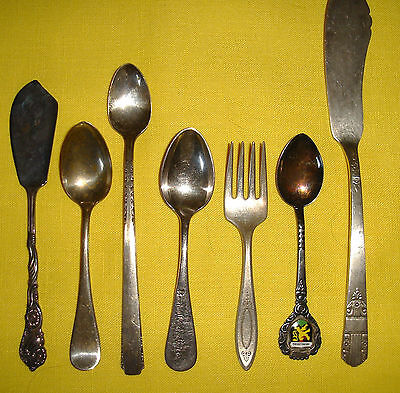 Lot 7 Old Vintage Silverware Flatware Utensil Pieces