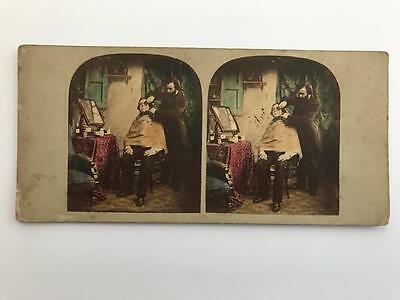 Early Stereoview 1850s Tinted Victorian Man Getting Shaved
