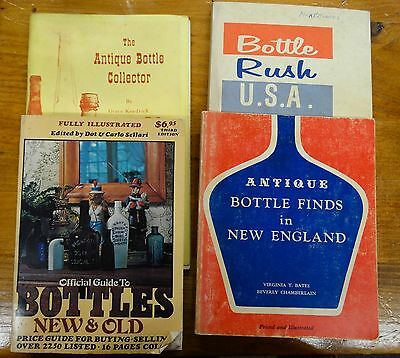 Four Well-Used Softcover Glass Bottle Collectors Reference Books