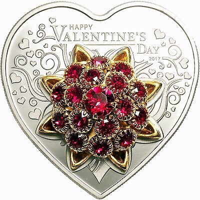 VALENTINE'S DAY Heart Shaped Silver Coin Proof Swarovski Elements Cook Islands