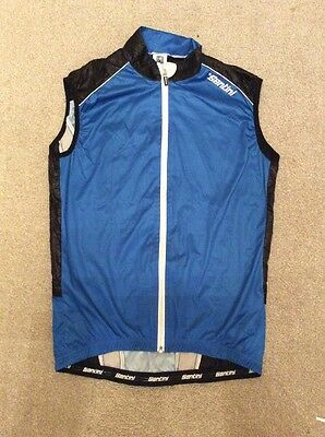 Santini Blue Black White Windproof Packable Wind Vest Gilet In Large Euro 4