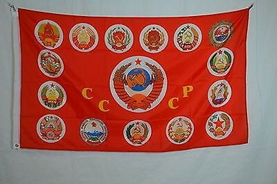 15 Soviet Republics Coat of Arms USSR Russia Flag Banner Poster 3x5 feet