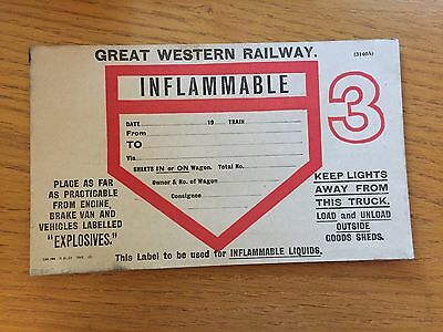 Great Western Railway INFLAMMABLE wagon label. NOS