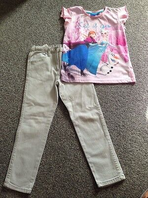 Disney Frozen T-shirt And Grey Jeans, Age 6-7 Years