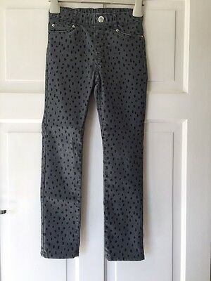 H&M Girls Or Boys Grey Leopard Print Skinny Fit Jeans. Age 6-7
