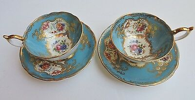 Pair (2) ANSLEY Royal Blue & Gold CUPS & SAUCERS with Pink Rose & Floral Groups