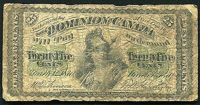 1870 25 Twenty Five Cents Shinplaster Dominion Of Canada Banknote