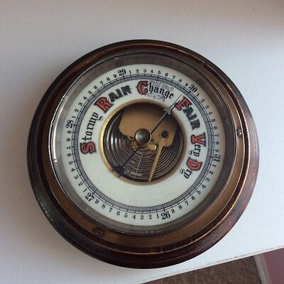old vintage brass wood barometer 1930s or 1950s