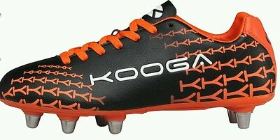 Kooga Mens Control 8 Rugby Boots Black/orange Sz 14