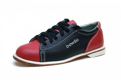 Bowlio Firestarter - Leather Tenpin Bowling Shoes in black and red for men and w