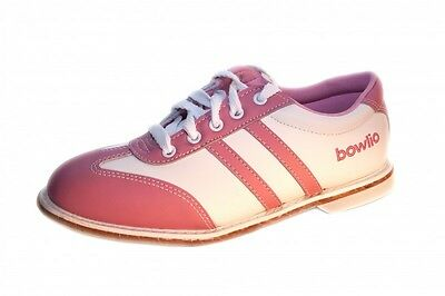 Bowlio Stripes Rose - Leather Tenpin Bowling Shoes in white and pink for women