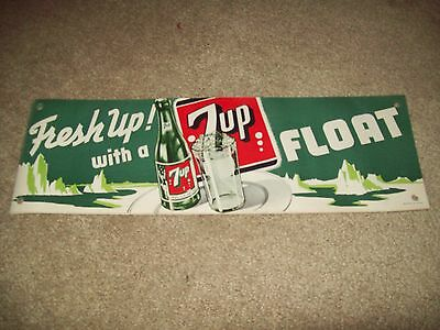 """Vintage 1950""""s  Fresh up With  7 UP Litho Fountain Banner"""