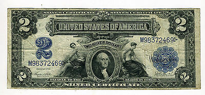 1899 $2 Silver Certificate Note Large Two Dollar Bill 2 Pin Holes