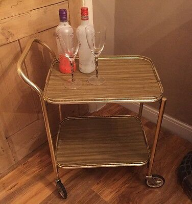 Vintage Retro 2 Tier Cocktail Drinks Tea Serving Wood Effect Gold Tone Trolley