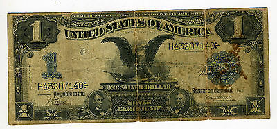 $1 One Dollar 1899 U.s. Black Eagle Silver Certificate 1 Pin Hole