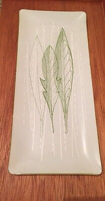 Chance Glass Rare Pattern Long Tray Bowl Green Leaves 1958 Margret Casson