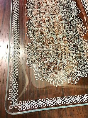 """CHANCE GLASS ordevers SET """"LACE"""" PATTERN 1950'S boxed"""