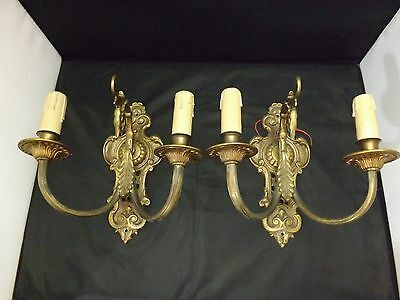 Old  pair of electric solid bronze wall sconces two lights
