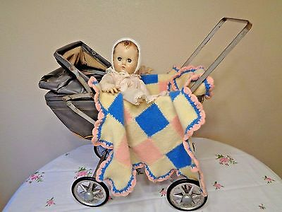 Antique toy baby doll carriage stroller fits Ideal Madame Alexander by Hedstrom