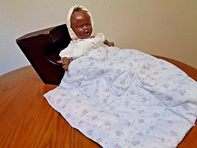 Antique Solid Darker Wood Doll Cradle Rare – Handmade Primitive farmhouse