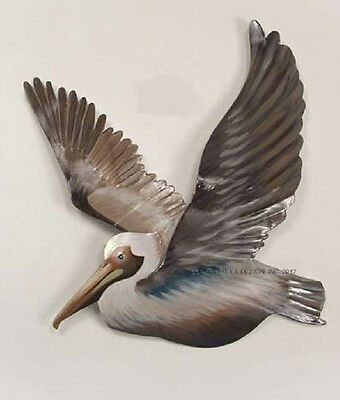 Coastal Art Designs Metal Flying Pelican Facing Left Patio Safe Wall Sculpture