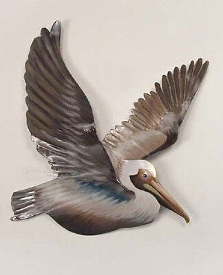 Coastal Art Designs Metal Flying Pelican Facing Right Patio Safe Wall Sculpture