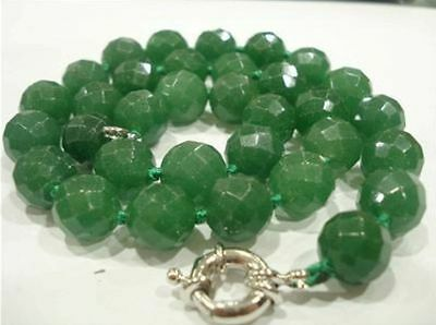 New  Stunning!10mm Green Emerald Faceted Round Necklace 18""