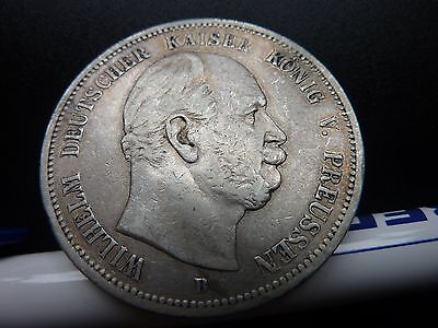 1876 B Germany Funf 5 Marks Genuine Large Silver Coin