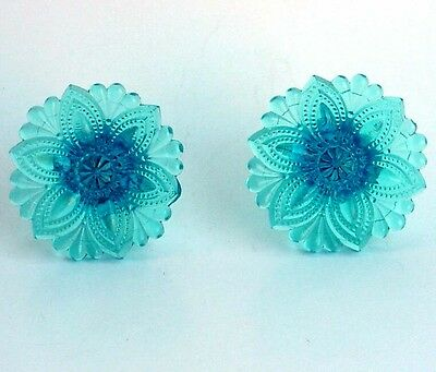 Antique Aqua Sky Blue Sandwich Glass Curtain Tie Backs Floral Design EAPG