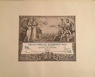 "Franco-British Exhibition 1908 ""diploma Of Honour"" Jeux Olympiques"
