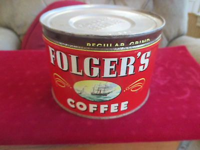 Vintage Folger's Coffee Can W/ship Logo 1 Lb Size 1940's With Lid