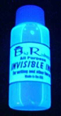All Purpose Blue Invisible UV Ink *1oz Bottle- Security Ink- Secret Message Ink