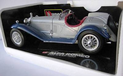 Bburago Silver Alfa Romeo 2300 Spider 1932 Die Cast Model Car Scale 1:18