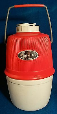 "Vintage Atomic Poloron Red & White Thermos - Insulated Hot or Cold - 10"" H."