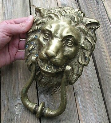 Large Vintage Reclaimed Brass Lion Door Knocker