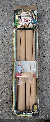 "Vintage Mid Century Set 22"" Tapered Wood Table Legs w/Angled Brackets NEW NOS"