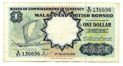 1959 Malaya Board of Commissioners 1 Dollar Note P8A #25554