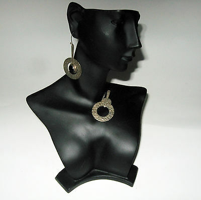 Vintage Hammered Metal & Black Onyx Dangle Earrings Ragul Cano Mexico Sterling