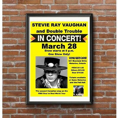 Stevie Ray Vaughan & Double Trouble Poster - World Tour 1985 Gig Waterloo Canada