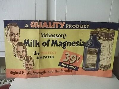 Vintage ADVERTISING PAPER STORE BANNER SIGN MCKESSON'S MILK OF MAGNESIA 21""