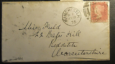 1d Red Cover - Manchester cancel -  Redditch back-stamp 1875