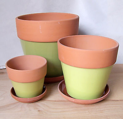 """Set Of 3 Clay Pots 8"""",6"""" And 4"""" Terra Cotta Glazed Body With Saucers Four Colors"""