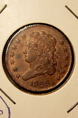 1828 Classic Head Half Cent, 13 Stars, Uncirculated - estate collection