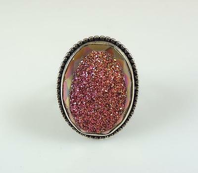 Colleen Lopez Large Druzy Ladies Sterling Silver Ring Size 7 Faceted #E55