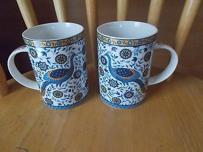 Set of 2~Decorated Peacock Mugs by Churchill~~Blue w/Golden Colors