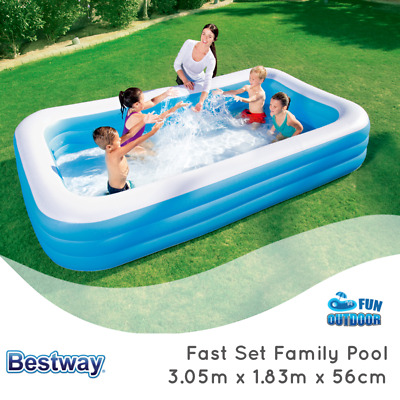 BESTWAY FAST SET 3.05M x 1.83M x 56 INFLATABLE RECTANGULAR FAMILY SWIMMING POOL