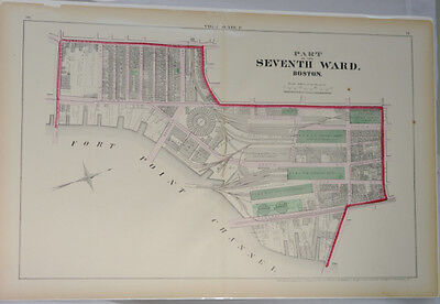 Boston,MA 1874 Original,Ward Map,Antique Street Map,Fort Point Channel