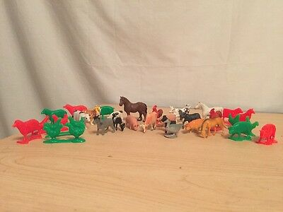 Lot Of Plastic Vintage Farm Animals Horse Cow Pig Donkey Dog Chicken
