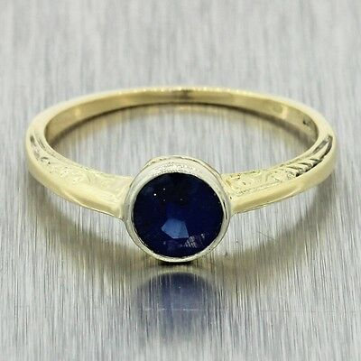 1880s Antique Victorian Estate 14k Solid Yellow White Gold .80ct Sapphire Ring
