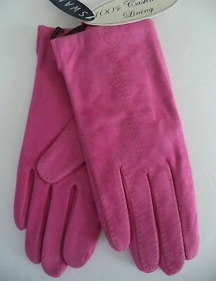 Ladies Swany 100% Cashmere Lined Genuine Leather Gloves, Hot Pink, Small